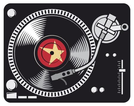 DJ music turntable (DJ Gramophone, Dj mixer, turntable dj player) Иллюстрация