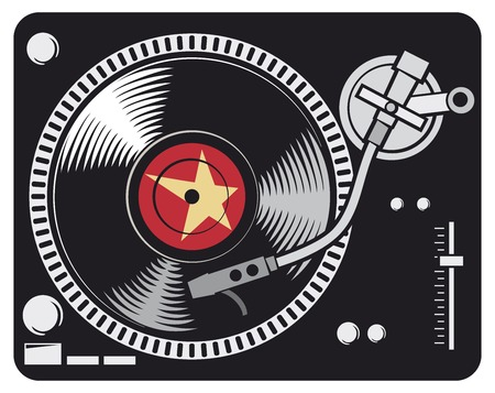 dj turntable: DJ music turntable (DJ Gramophone, Dj mixer, turntable dj player) Illustration