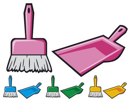 dustpan: dustpan and sweeping brush
