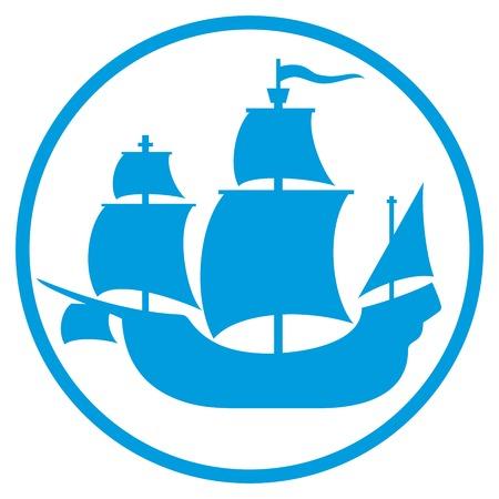 vieille icône de navire (navire pirate, signe voilier, ancienne silhouette du navire)