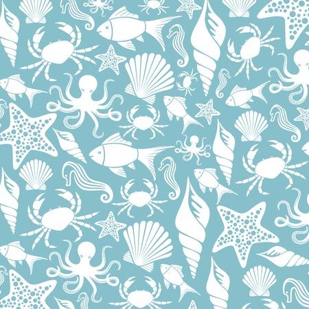 海生活シームレス パターン (海の動物パターン、海の生活の背景)