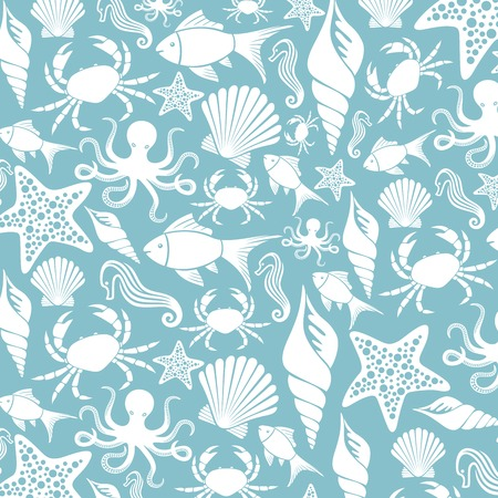 hippo campus: sea life seamless pattern (ocean animals pattern, sea life background)