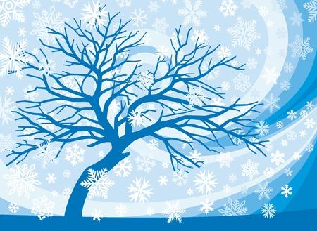 winter scene: winter tree and snowflakes (winter scene)