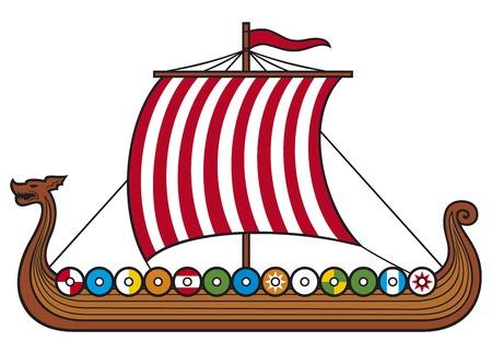 Viking Ship (łódź wikingów wikiński długi statek) Ilustracje wektorowe