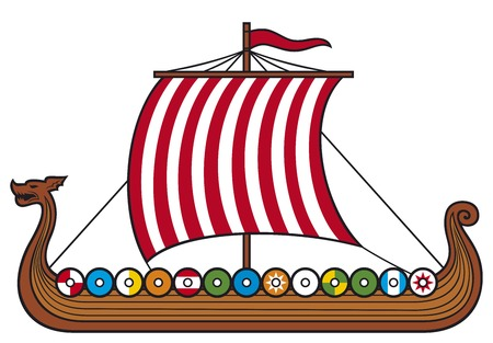 pirate crew: viking ship (viking boat, viking long ship) Illustration