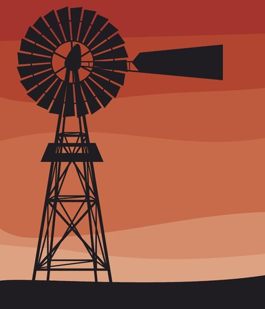 silhouette of a water pumping windmill (old windmill, windmill water tower) Иллюстрация