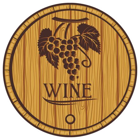 wooden barrel for wine (old casks for wine) Illustration