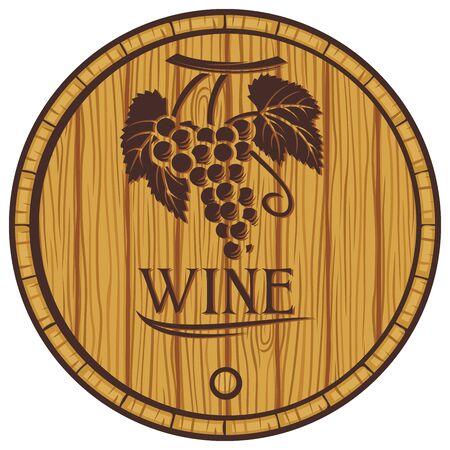 casks: wooden barrel for wine (old casks for wine) Illustration