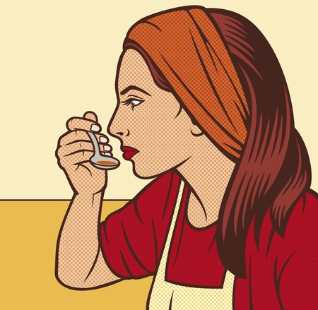 try: woman in the kitchen pop art illustration (woman taste a soup with a spoon, woman tasting soup pop art illustration, woman tried food pop art design)