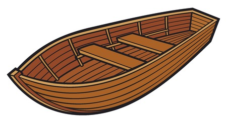rowing: wooden boat