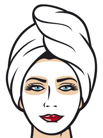 clay mask: beautiful young woman getting facial mask beautiful woman with clay mask cosmetic mask on her face beautiful girl in towel Illustration