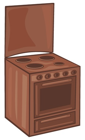 tiled stove: electric cooker electric stove Illustration