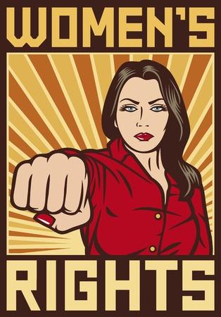 womens rights poster  pop art woman punching beauty girl punching Illustration