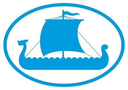viking ship icon viking boat sign viking long ship silhouette Vector