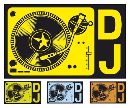 party dj: Placa giratoria de DJ de la música de DJ gramófono Dj mixer dj tocadiscos jugador Vectores