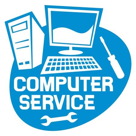 computer service label computer repair service sign computer repair service Vector