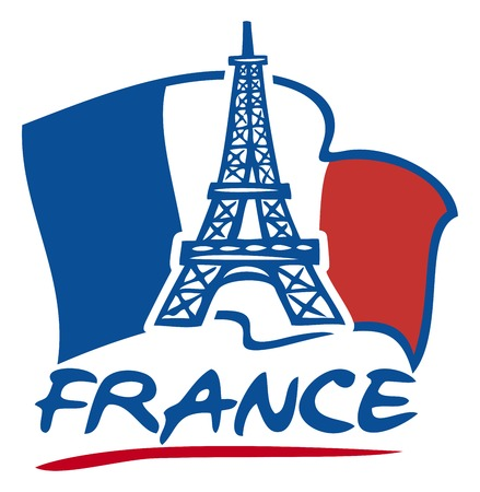 paris eiffel tower design and france flag eiffel tower icon Иллюстрация