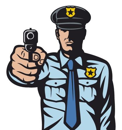 pistola: polic�a que apunta el arma a un polic�a dispara oficial de polic�a est� haciendo se�al de parada con la mano mano con el arma de la pistola polic�a puntiaguda que apunta el arma a usted agente de polic�a apuntando con su pistola Vectores