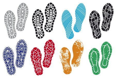 the collection of a imprint soles shoes sole prints black vector trail foot shoe print shoes silhouette Stock Illustratie