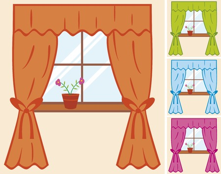 window sill: window with curtain and flower in pot