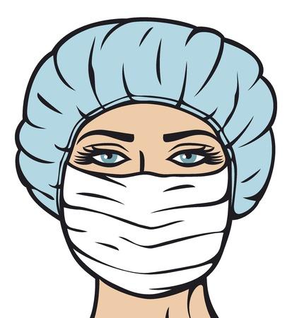 enfermera con cofia: médico de la mujer en la máscara quirúrgica enfermera con la máscara y la gorra Doctora en máscara Vectores