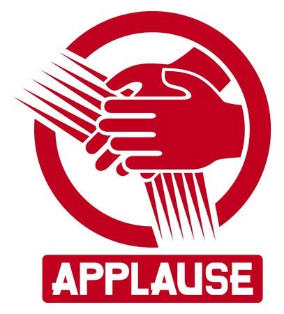 manos aplaudiendo: aplausos aplausos icono de signo de las manos aplaudiendo Vectores