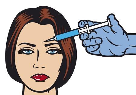 vrouw die een botox injectie in voorhoofd vrouw krijgt een schoonheidsbehandeling injectie cosmetische behandeling met botox injectie