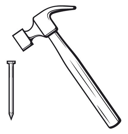 clout: hammer and nail hammer hitting the nail Illustration