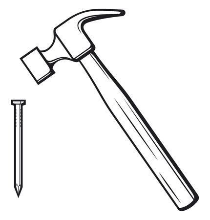 hitting: martello e martello chiodo colpisce il chiodo