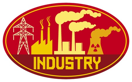 chemical hazard: industry label industry design industrial buildings factory industrial plant symbol