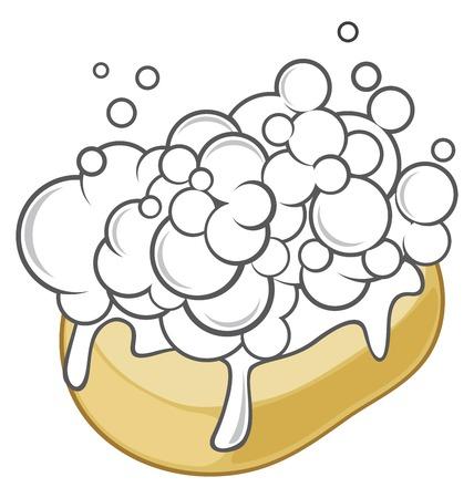 wet soap with foam soap with foam Illustration