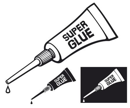 pegamento: tubo metálico de tubo de pegamento súper vector de tubo de pegamento con pegamento