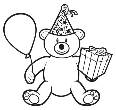 fancy sweet box: teddy bear toy with gift box birthday hat and balloon cute bear teddy bear Illustration