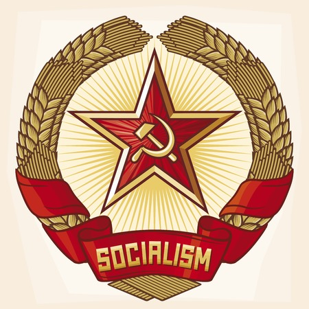 Socialism emblem a symbol of communism  wreath of wheat and star 向量圖像