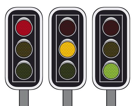 way to go: Traffic lights isolated on white background Illustration