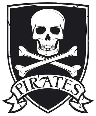 drapeau pirate: manteau pirate de l'emblème de symbole de bras