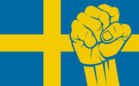 Sweden fist Flag of Sweden Illustration