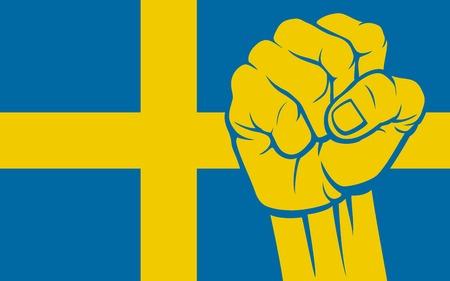 supporting: Sweden fist Flag of Sweden Illustration