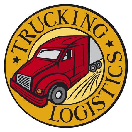 truck driver: trucking  logistics symbol emblem design badge delivery truck