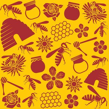 abeja: abeja y miel iconos sin patrón