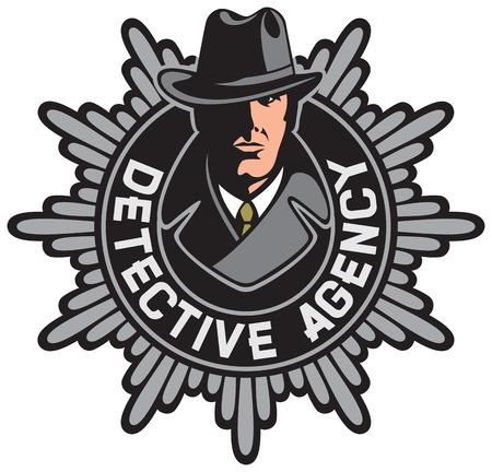 private detective agency label particuliere recherchebureau symbool Stock Illustratie