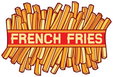 french label: french fries label french fries symbol Illustration