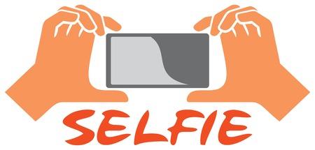 taking selfie photo on smart phone vector illustration taking selfie by mobile phone, selfie concept Illustration