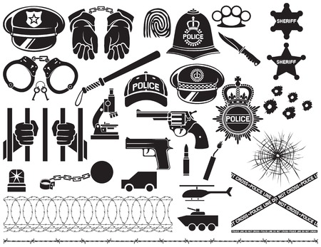 bobby: police icons set british bobby police helmet, police hat, police bat, hands in handcuffs, revolver, chain with shackle, sheriff star shield, barbed wire, bullet hole in glass
