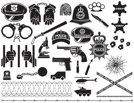 politie pictogrammen instellen Britse bobby politie helm, politie hoed, politie vleermuis, de handen in handboeien, revolver, ketting met beugel, sheriff ster schild, prikkeldraad, kogelgat in glas