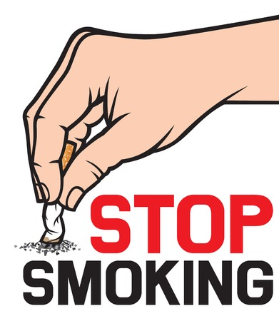 stop smoking concept - hand extinguishing a cigarette Иллюстрация