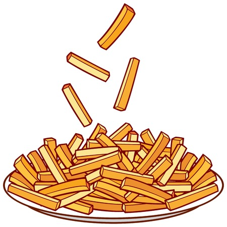 hot plate: french fries on a plate bowl of french fries Illustration
