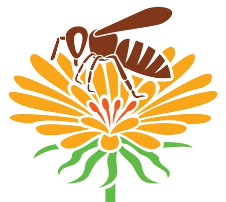 pollination: bee and flower icon honey bee and flower Illustration