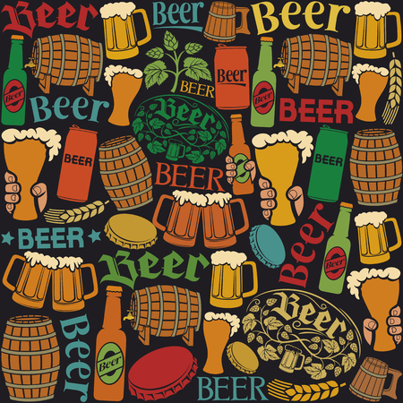beer icons seamless pattern beer background, hops leaf, hop branch, wooden barrel, glass of beer, beer can, bottle cap, beer mug, beer beer bottles