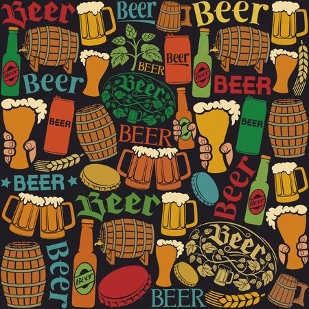 beer icons seamless pattern beer background, hops leaf, hop branch, wooden barrel, glass of beer, beer can, bottle cap, beer mug, beer beer bottles